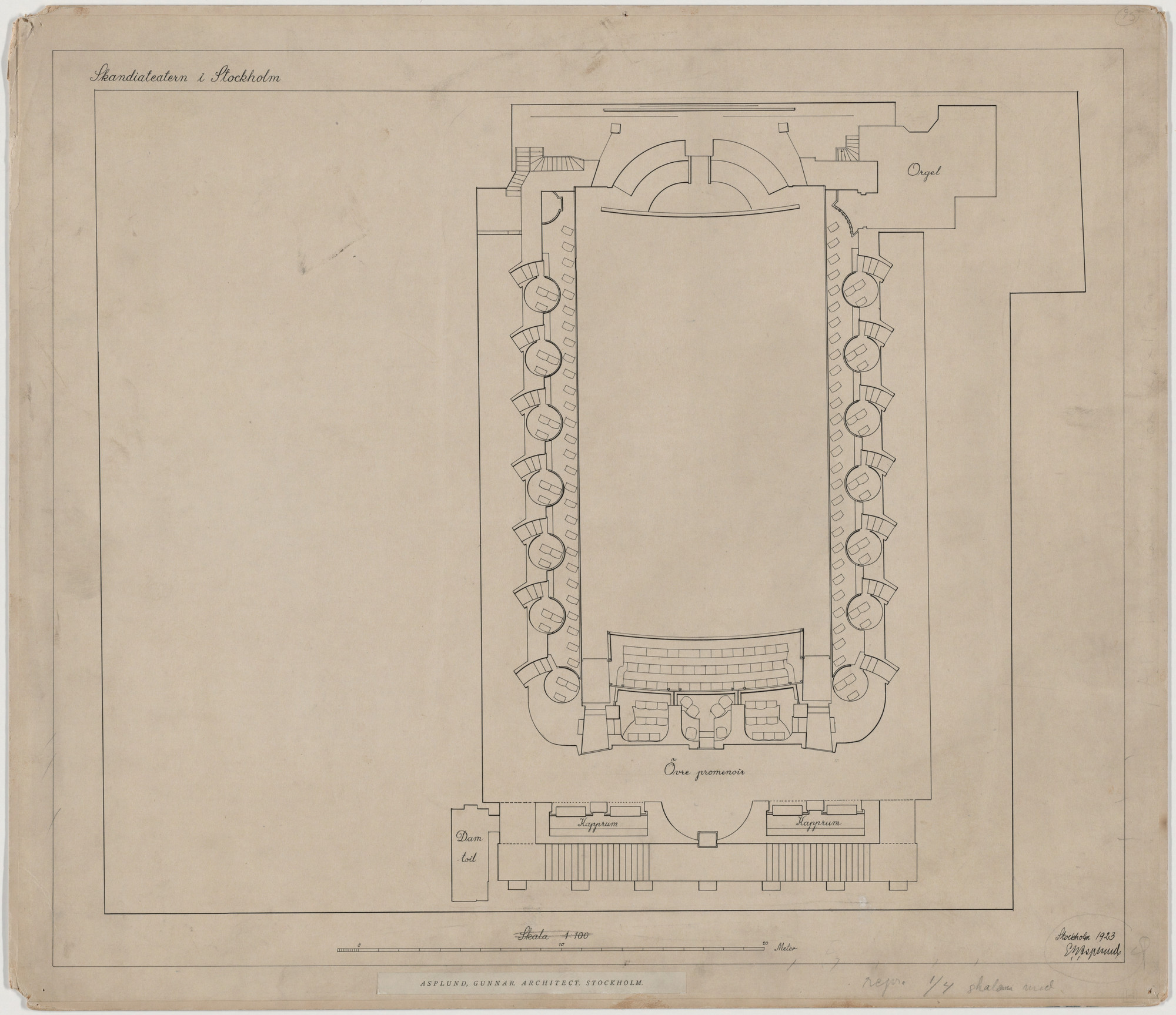 Erik Gunnar Asplund. Skandia Cinema, Stockholm, Sweden, Floor plan of mezzanine. 1923