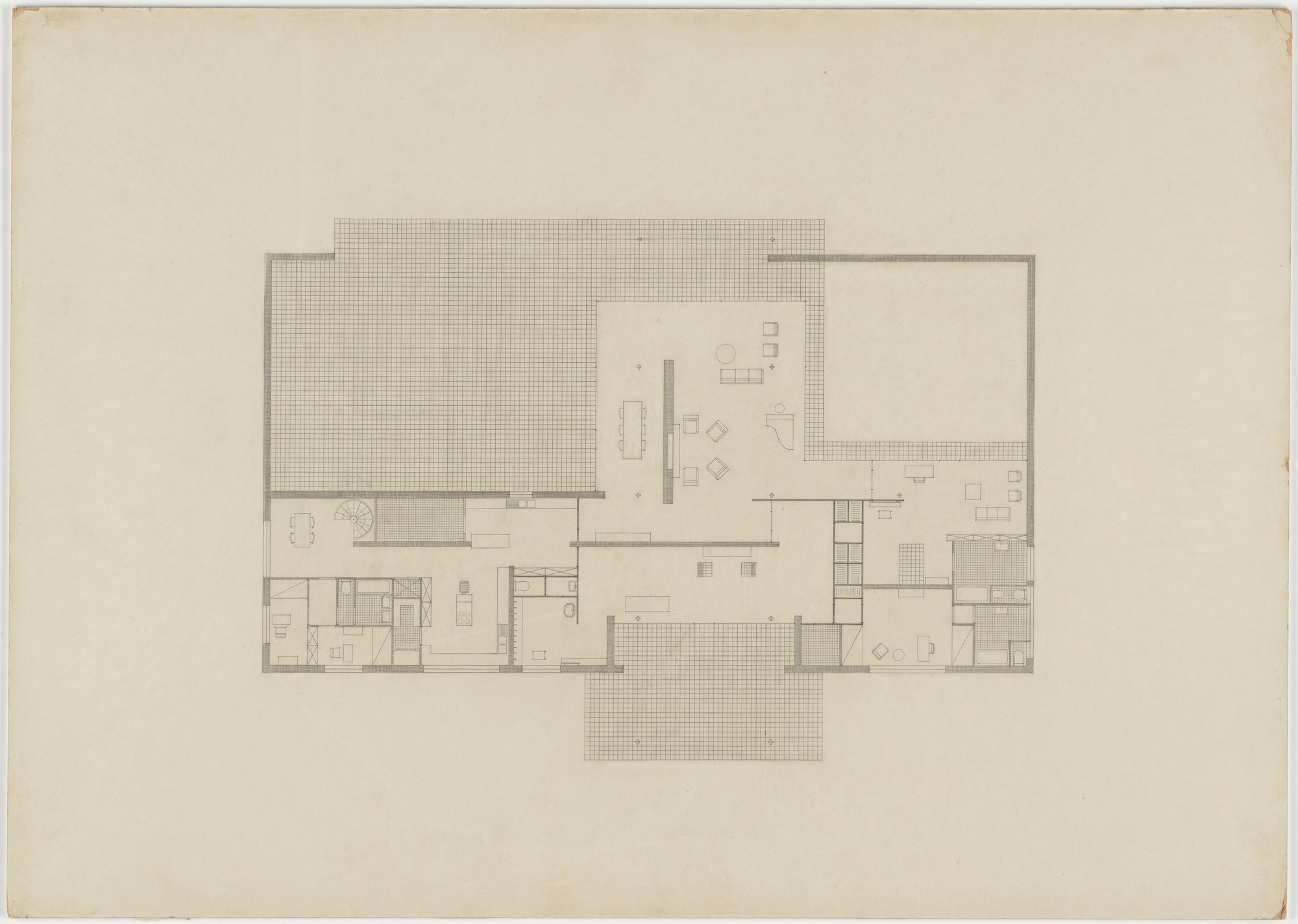 Ludwig Mies van der Rohe. Hubbe House Project, Magdeburg, Germany (Floor plan with furniture placement [final version]). 1934–1935