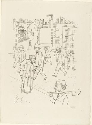 George Grosz. War Invalid and Workers (Kriegsinvalide und Arbeiter) from In the Shadows (Im Schatten). (1920/21, published 1921)