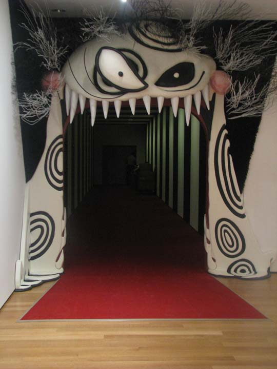 Installation view of <i>Tim Burton</i> exhibition entrance with Monster Mouth
