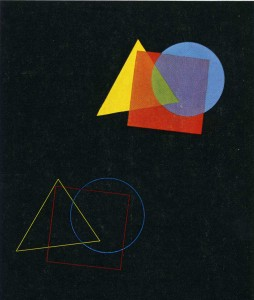 Eugen Batz.  Exercise for color-theory course taught by Vasily Kandinsky.  1929-30. Tempera over pencil on black paper. Bauhaus-Archiv Berlin