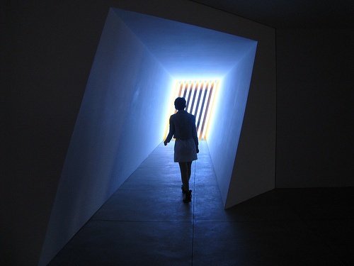 Experiencing an installation by Dan Flavin at the Chinati Foundation.