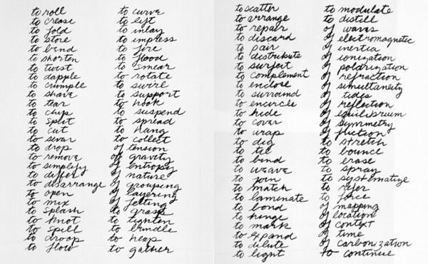 Richard Serra. Verb List. 1967–68.