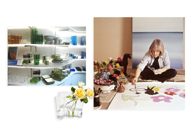 Finnish Design, May 2005. Top left: A display of Finnish tableware at the MoMA Design Store. Bottom left: Alvar Aalto. Clear Aalto Vase. 1936. Right: Maija Isola (pictured here) created some of Finnish textile company Marimekko's most iconic prints throughout the 1960s, 1970s, and 1980s.