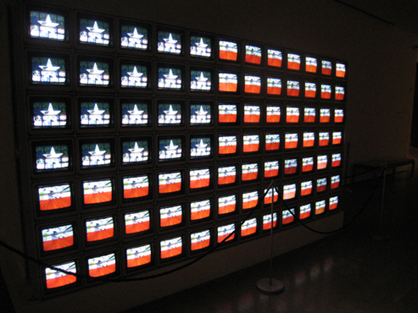 Nam June Paik. Video Flag Z. 1986. Multimedia video installation. LACMA. Gift of the Art Museum Council © Nam June Paik