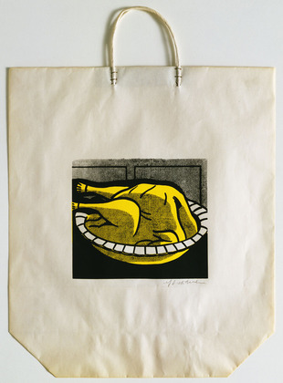 "1964. Screenprint on shopping bag with handles, Composition: 7 1/2 x 9"" (19.1 x 22.8 cm); sheet (irreg.): 19 5/16 x 16 15/16"" (49 x 43 cm). Publisher: Bianchini Gallery, New York. Printer: Ben Birillo, New York. Edition: approx. 125. Gift of Jo Carole and Ronald S. Lauder. © Estate of Roy Lichtenstein"