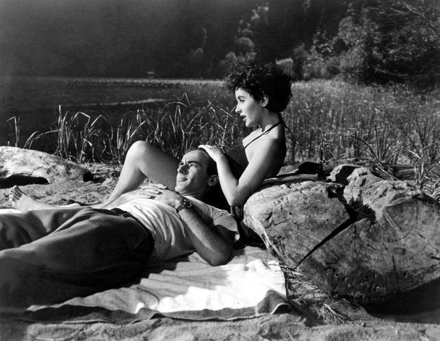 1951: Film stars Elizabeth Elizabeth Taylor and Montgomery Clift star in A Place In The Sun. 1951. Directed by George Stevens. Paramount Pictures