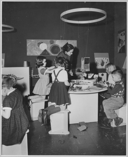 "Participants at the exhibition, ""Children's Holiday Carnival."" December 10, 1956 through January 13, 1957, The Museum of Modern Art, New York. Photographic Archive. The Museum of Modern Art Archives, New York. Photo by Soichi Sunami."