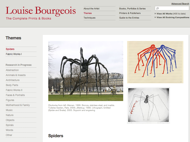 Spider theme page on MoMA.org/bourgeoisprints