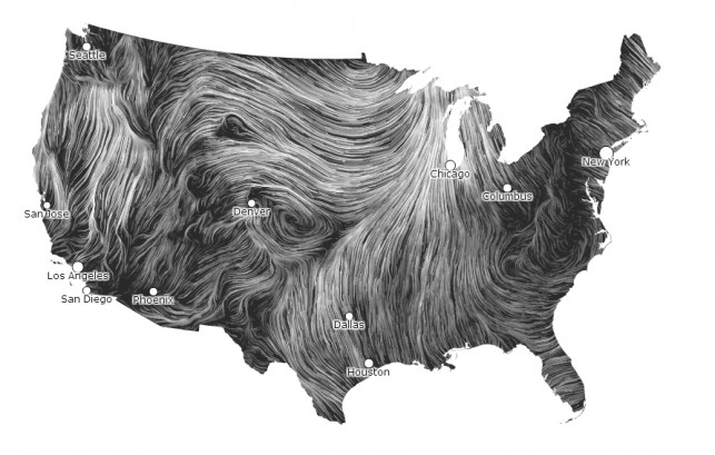Fernanda Viégas and Martin Wattenberg. Wind Map. 2012