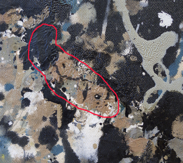 Areas inconsistent with Pollock's painting technique are found scattered across the painting. These regions share similar qualities in their color, texture, and style of application