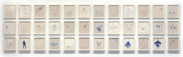 "Louise Bourgeois. The Fragile. 2007. Series of 36 compositions: 29 digital prints and 7 screenprints, 30 with dye additions. Sheet (each approx.): 11 1/2 x 9 1/2"" (29.2 x 24.1 cm). © 2013 Louise Bourgeois Trust. Installation view at The Museum of Modern Art, 2013. Photo:"