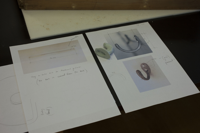 Pictures of the mold and specification for manufacturing new copies of the aluminum hooks.