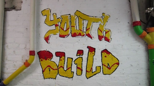 A YouthBuild-created mural brightens up the ACD space