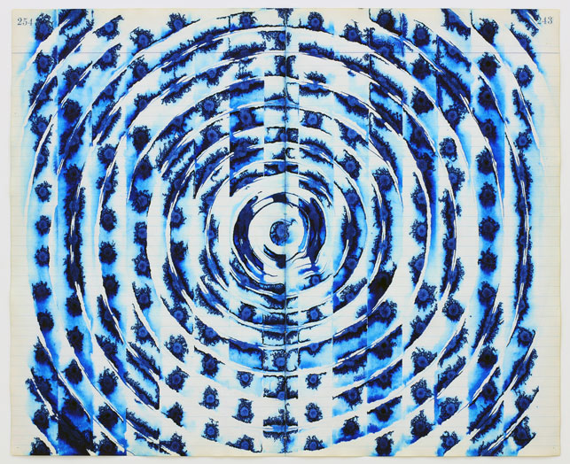 David Moreno, Spiral and Dot Blue, 2010, ink on paper, 13.5 x 6.5 in