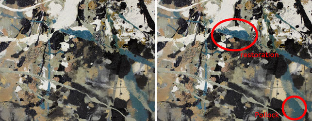 The blue overpaint can be differentiated from Pollock's original through elemental analysis. Though the two paints appear to be the same color, the overpaint contains cobalt (suggesting cobalt blue pigment) and Pollock's original does not