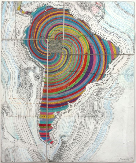 "Juan Downey. Map of America. 1975. Colored pencil, pencil, and synthetic polymer paint on map on board, 34 1/8 x 20 1/4"" (86.7 x 51.4 cm). Purchased with funds provided by the Latin American and Caribbean Fund and Donald B. Marron. © 2013 Juan Downey/Artists Rights Society (ARS), New York"
