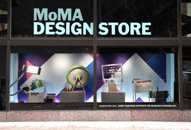 The completed window at MoMA Stores midtown NYC location.