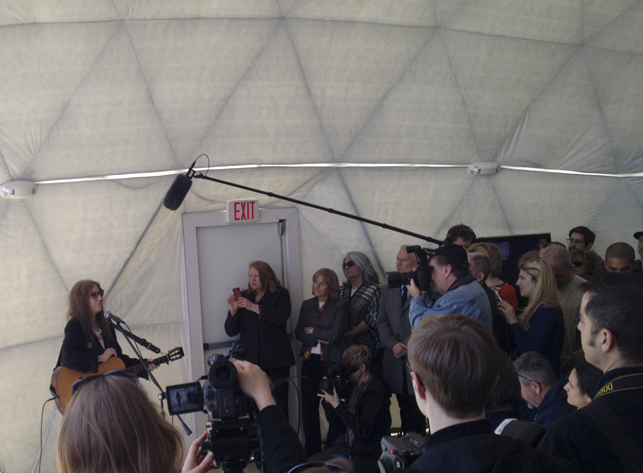 Patti Smith performing at the opening of Dome 2. Photo by Pamela Popeson