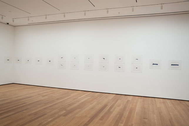 "Installation view of the exhibition A Trip from Here to There at MoMA. Shown: Jorge Macchi.  32 Morceaux d'eau. 1994. Gouache on paper, each 9 3/8 x 12 5/8"" (23.8 x 32.1 cm).  The Museum of Modern Art, New York. Purchased with funds provided by The Edward John Noble Foundation. © 2013 Jorge Macchi. Photo: John Wronn"