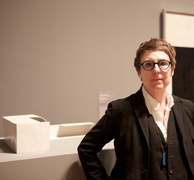 R.H. Quaytman with Katarzyna Kobro's sculptural work Kompozycja przestrzenna 1 (Spatial Composition 1)