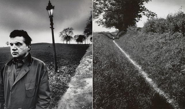 """Left: Bill Brandt. The Pilgrim's Way, Kent. 1950. Gelatin silver print, 9 x 75⁄8"""" (22.9 x 19.4 cm). EHG. © 2013 Bill Brandt Archive Ltd. Right: Bill Brandt. Francis Bacon Walking on Primrose Hill, London. 1963. Gelatin silver print, 91⁄4 x 71⁄2"""" (23.5 x 19.1 cm). Collection David Dechman and Michel Mercure. © 2013 Bill Brandt Archive Ltd."""