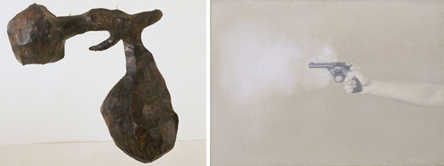Claes Oldenburg. Empire (Papa) Ray Gun. 1959. Vija Celmins. Gun with Hand #1. 1964.