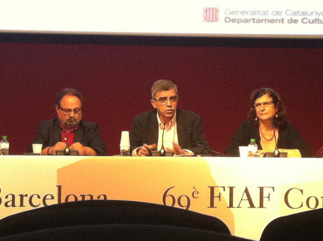 From left: Anastasi Rinos (film editor), Esteve Riambau (Director, Fimoteca de Catalunya) and Rosa Vergés (filmmaker) in the homage to filmmaker Bigas Luna.