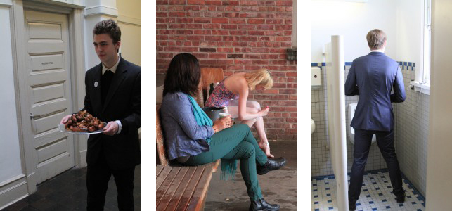 From left: Otis carries his sausages to the bathroom; Julia shaves her legs for one hour in the MoMA PS1 courtyard; John sings Britney Spears songs for an hour at the urinal