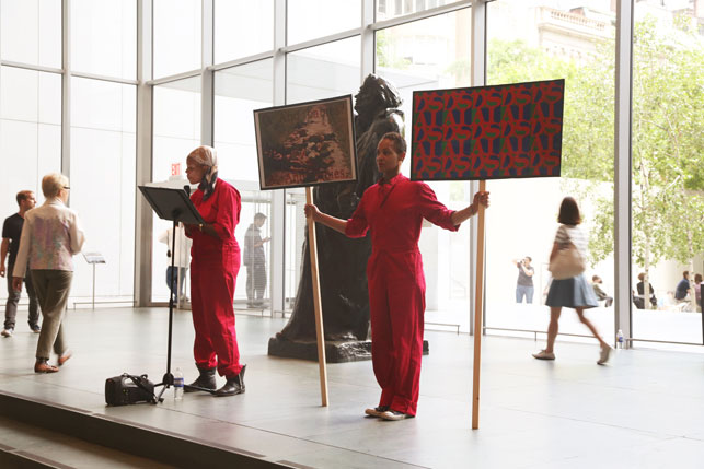 An Archive as Impetus performance in MoMA's Agnes Gund Garden Lobby. Photograph courtesy of Xaviera Simmons