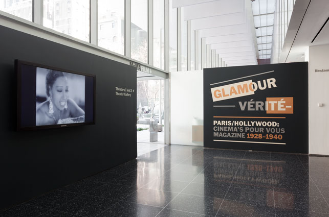 Installation view of Glamour Vérité—Paris/Hollywood: Cinema's Pour Vous Magazine, 1928–1940. February 6–August 12, 2013. The Museum of Modern Art, New York. Photo by Jonathan Muzikar