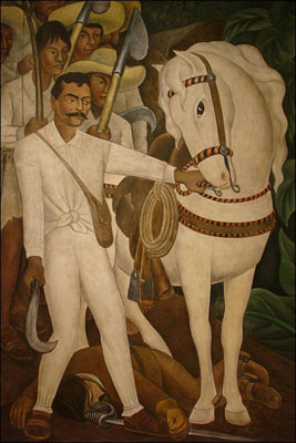 "Diego Rivera. <i>Agrarian Leader Zapata.</i> 1931. Fresco, 7' 9 3/4"" x 6' 2"" (238.1 x 188 cm). The Museum of Modern Art. Abby Aldrich Rockefeller Fund"