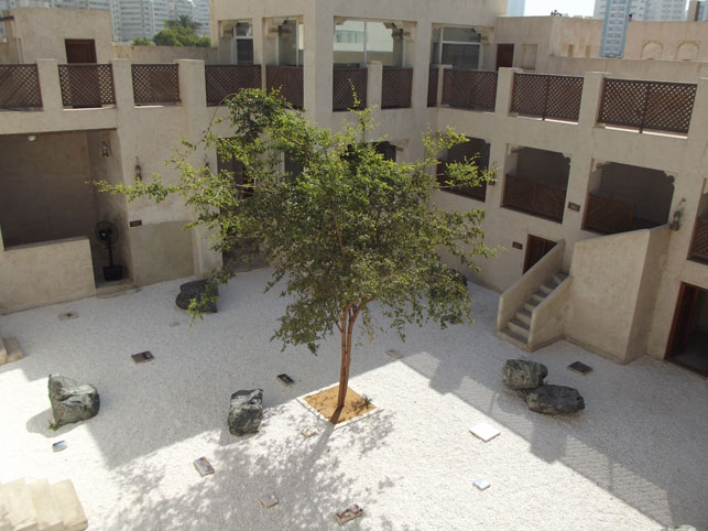 A traditional courtyard in Sharjah's Heritage Area, a central venue of the Sharjah Biennial