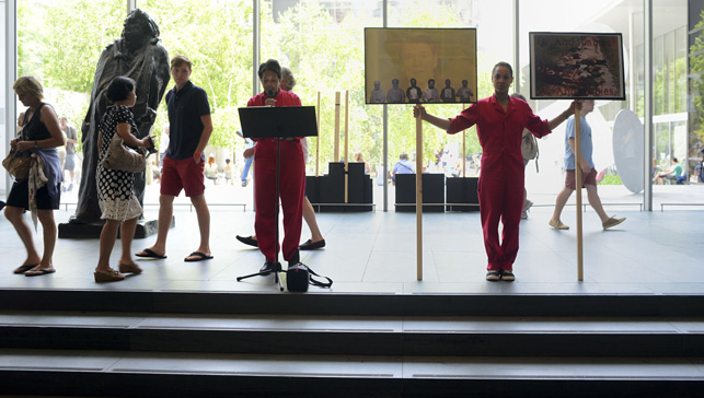 An Archive as Impetus performance in MoMA's Agnes Gund Garden Lobby. Photograph courtesy of Xaviera Simmons)