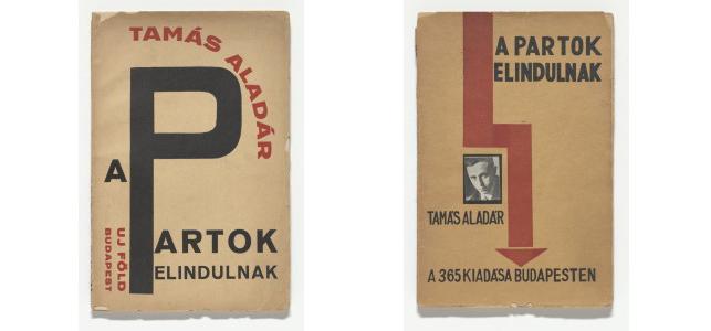 From left: Alexander (Sándor) Bortnyik. A partok elindulnak (The shores heading out) by Aladár Tamás. 1925; Lajos Kassák. A partok elindulnak (The shores heading out) by Aladár Tamás. 1925