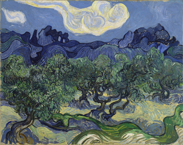 "Vincent van Gogh. The Olive Trees. June-July 1889. Oil on canvas28 5/8 x 36"" (72.6 x 91.4 cm). Mrs. John Hay Whitney Bequest"