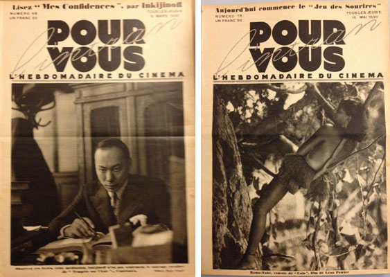 Valéry Inkijinoff on the cover of Pour Vous, March 6, 1930; Rama-Tahé on the cover of Pour Vous, May 15, 1930