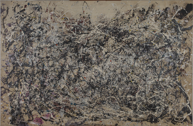 "Jackson Pollock. Number 1A, 1948.  1948. Oil and enamel paint on canvas,  68"" x 8'8"". The Museum of Modern Art, New York. Purchase. © 2013 Pollock-Krasner Foundation/Artists Rights Society (ARS), New York"