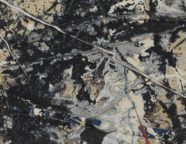 "Breaking all physical contact with the canvas, Pollock honed application techniques that relied on mechanics as a painting ""tool"""