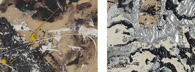 Compare the thick tendrils of artist oil impasto (at left) with the fluid, smooth surface of the enamel paint (right)