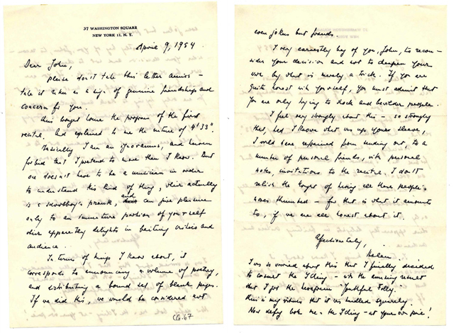 Letter from Helen Wolff to John Cage