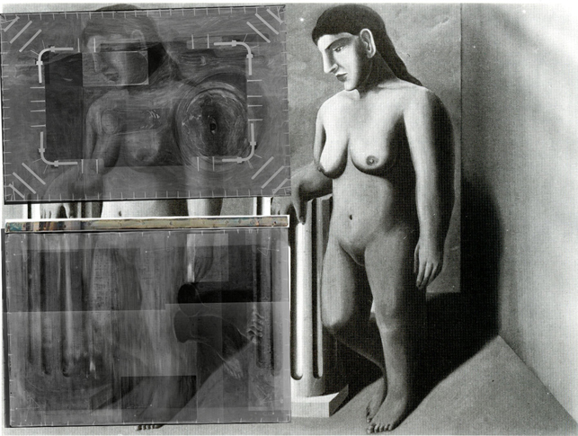 René Magritte. La Pose Enchantée (The Enchanted Pose). 1927. Overlaid with X-rays of The Portrait and The Red Model. Department of Conservation, The Museum of Modern Art, New York. © Charly Herscovici – ADAGP – ARS, 2013