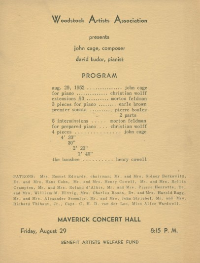 Woodstock Artists Association Program. 1952. Letterpress. Collection of the John Cage Trust. © 2013 John Cage Trust