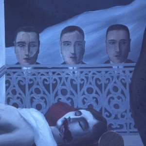 Detail of The Menaced Assassin. This image taken under ultraviolet light shows how Magritte highlighted the three heads at center with varnish