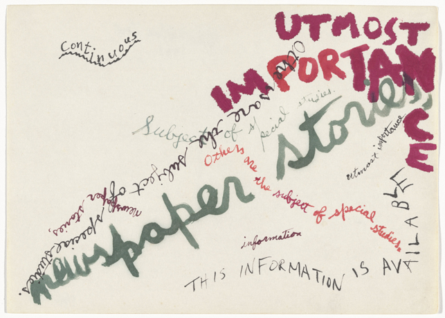 Jackson Mac Low. Drawing-Asymmetry #5. 1961. Ink and colored ink on paper, 8 9/16 x 11 7/8″ (21.7 x 30.2 cm). The Museum of Modern Art, New York. The Gilbert and Lila Silverman Fluxus Collection Gift, 2008. © 2014 The Estate of Jackson Mac Low