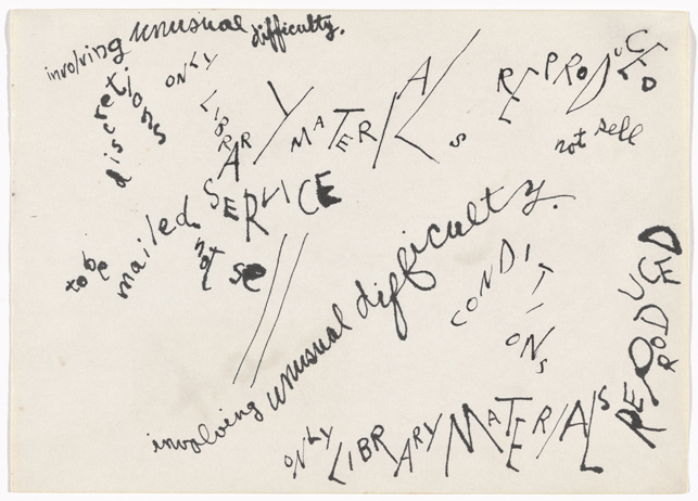 "Jackson Mac Low. Drawing-Asymmetry #7. 1961. Ink on paper, 8 9/16 x 11 7/8"" (21.7 x 30.2 cm). The Museum of Modern Art, New York. The Gilbert and Lila Silverman Fluxus Collection Gift, 2008 © 2014 The Estate of Jackson Mac Low"