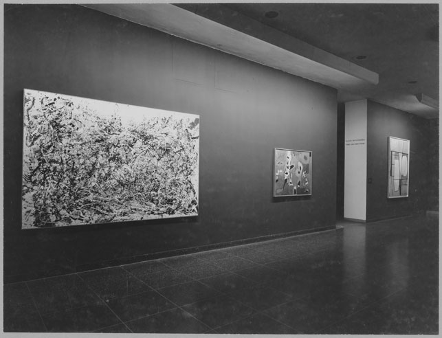 "Jackson Pollock. Number 1A, 1948.  1948. Oil and enamel paint on canvas, 68"" x 8'8."" On view at MoMA in a recent acquisitions exhibition in 1950"