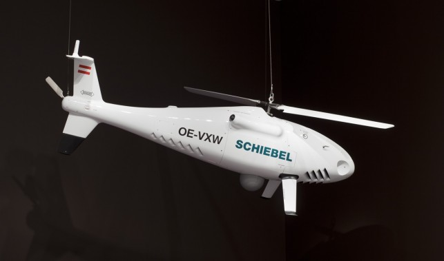 Gerhard Heufler, Hans Georg Schiebel. Camcopter S-100 Unmanned Aerial Vehicle. 2004. Carbon fiber and titanium, 41″ X 49″ X 10′ 1 5/8″ (104.2 x 123.8 x 310 cm). gift of Schiebel Electronische Gerate GmbH. Photo: Jonathan Muzikar