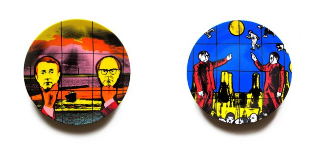 Gilbert & George. Light Headed. 1991 (left); Flight (right)