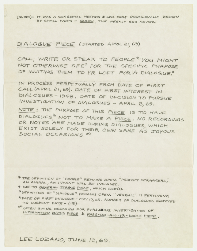 "Lee Lozano. Dialogue Piece (Started April 21, 1969). 1969. Carbon paper transfer on paper, 11 x 8 1/2"" (27.9 x 21.6 cm). The Museum of Modern Art, New York. The Judith Rothschild Foundation Contemporary Drawings Collection Gift (purchase, and gift, in part, of The Eileen and Michael Cohen Collection). © 2014 Lee Lozano"